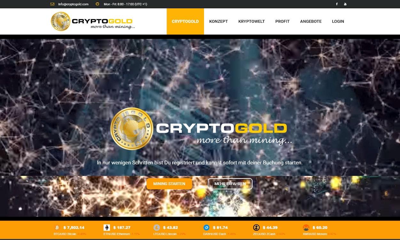 CryptoGold Mining und Webseiten Test 2020.