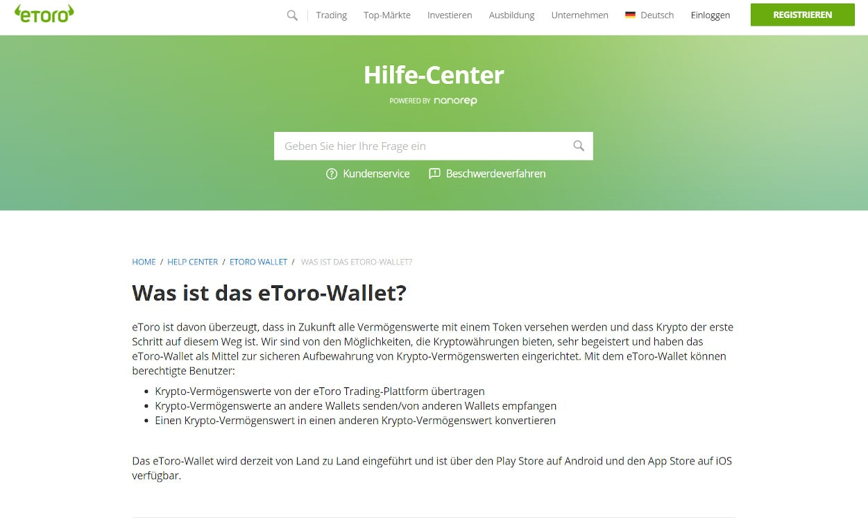 eToro Wallet und Webseiten Test 2020.